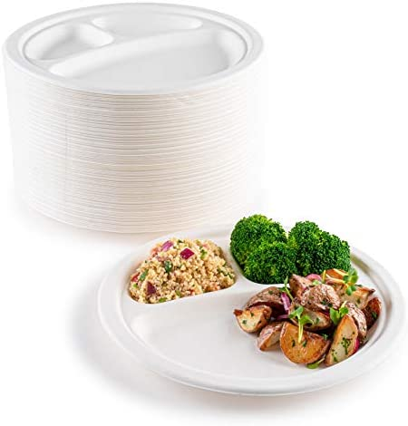 brheez Heavy Duty Round 3 Compartment Disposable Plates [10″ inch] Eco-Friendly 100% Natural Bagasse Fiber Biodegradable Compostable Sustainable Paper Alternative Plates [60 Plates]