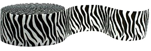 """[Single Pack] Crepe Paper Streamer Roll""""Zebra Animal Stripes Design"""" for Decoration and Craft Supply with 81 Ft / 24.7 M Length {Black and White Colors}"""