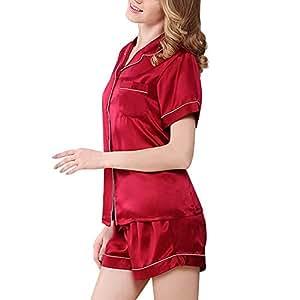 HUIFANG Conjunto De Pijamas De Mujer 100% Tela De Seda De Morera Verano Camisa De
