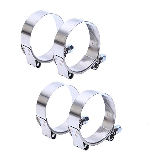 (HiwowSport Stainless Steel T-Bolt Clamp for Turbo Silicone Intercooler Hose (2.5''(67-75MM)))