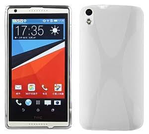 Cadorabo - HTC DESIRE 816 Cubierta protectora de silicona TPU en diseño X-Line - Case Cover Funda Carcasa Protección en BLANCO-MAGNESIO