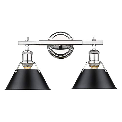 Beaumont Lane 2 Light Bath Vanity Light in Chrome with Black Shade