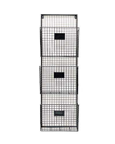 Decorative Label Holder Square - Three Tier Wall File Holder - Durable Black Metal Rack with Spacious Slots for Easy Organization, Mounts on Wall and Door for Office, Home, and Work - by Designstyles