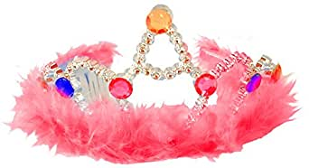 Beauty Queen Pagent Costume Pink Feather Tinsel Tiara