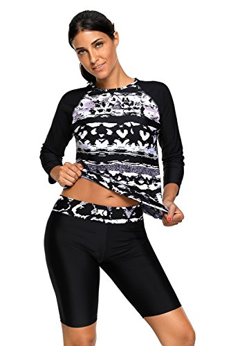 Women's Printed Long Sleeve Rashguard Top and Capri Pants Two Piece Swimsuit Set ()