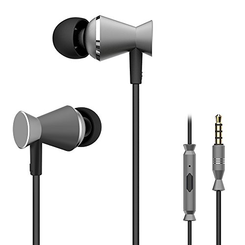 Wired In Ear Headphones Corded Earbuds Powerful Bass Earphones w/HD Stereo Sound, Rugged Cord, Lightweight Sport Headset w/Mic Volume Controls for Women Men, iPhone Android Cell Phones (Gunmetal)