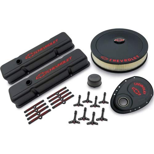Proform 141-758 Black Crinkle Engine Dress-Up Kit with Red Chevrolet/Bowtie Logo for Small Block Chevy ()