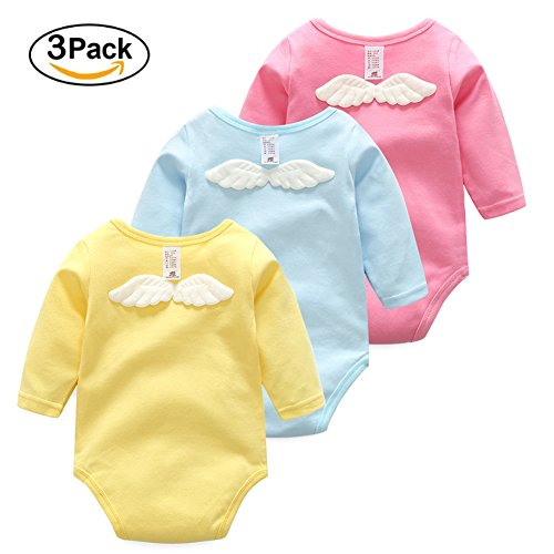 Girl Onesies Baby Longsleeve Newborn T-shirt Angel Wings 100% Cotton Gift 3 Pack Infant Bodysuit(9-12)
