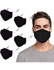 3D Cloth Face Mask With Nose Wire & Adjustable Earloops Anti Fogging Reusable & Washable Face Mask For Men & Women (3/5/6pcs)
