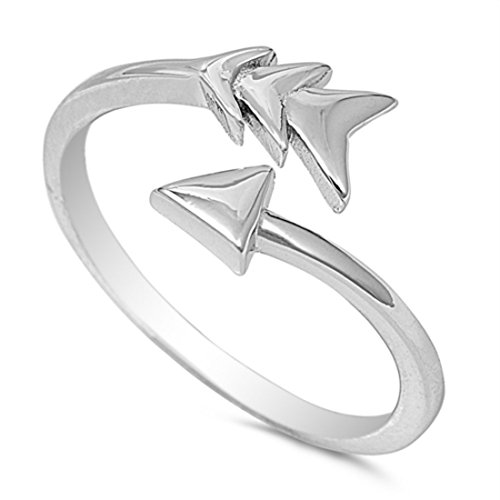 Blue Apple Co. Arrow Ring Sideways Petite Dainty Bypass Wrap Arrow Band 925 Sterling Silver, Size - 7 (Arrow Wrap Ring)