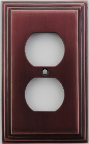 Classic Accents Deco Antique Copper 1 Gang Duplex Outlet Wall Plate