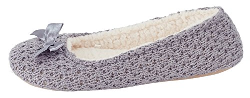 MIXIN Womens Ballerina Elegant and Comfortable Knitted Woolen Soft Sole Indoor Slippers Grey KiA1i