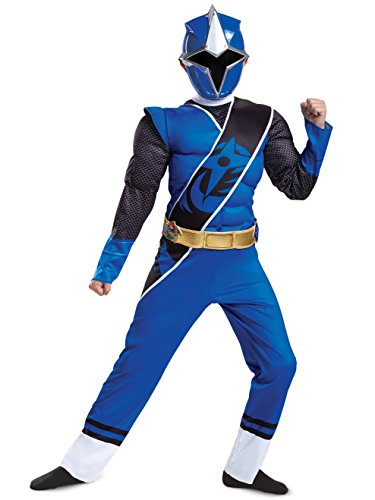Disguise Power Rangers Ninja Steel Muscle Costume, Blue, Medium (Green Power Ranger Costume Kids)