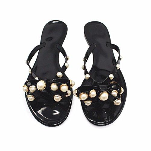 Été Chaussons Black en YUCH Noeud Ladies' Pearl Sandales Antiskid Papillon a6txTq