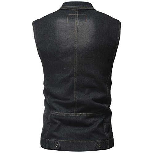 bed6609cea2 ... WUAI Clearance Men's Sleeveless Fashion Lapel Vintage Jeans Vest  Motorcycle Jacket Waistcoat(Black,US ...