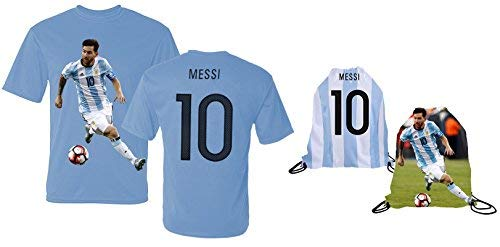 0f087582f46 Messi Jersey Style T-shirt Kids Argentina Lionel Messi Jersey T-shirt Gift  Set Youth Sizes ✓ Premium Quality ✓ ✓ Soccer Backpack Gift Packaging (YL 10-13  ...
