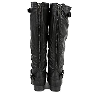 Top Moda Women's COCO 1 Knee High Riding Boot, Premium Black Pu 7