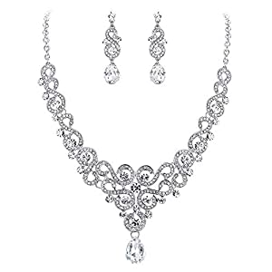 EVER FAITH Women's Austrian Crystal Art Deco Bridal Floral Wave S-Shaped Teardrop Necklace Earrings Set