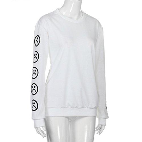 Blanc Imprim Xjp Longue ne Femme Chemisier Manches Sweatshirt Tristes motic Manche Faces zRHPq