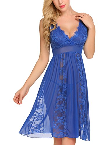 Avidlove Women's Sexy Long Lace Lingerie Nightdress Sheer Nightgown Chemise Blue