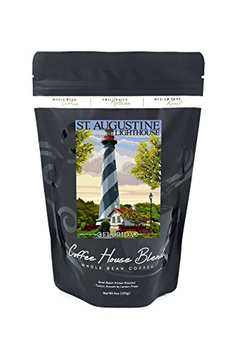 Anastasia Lighthouse - St. Augustine, Florida Lighthouse (8oz Whole Bean Small Batch Artisan Coffee - Bold & Strong Medium Dark Roast w/ Artwork)