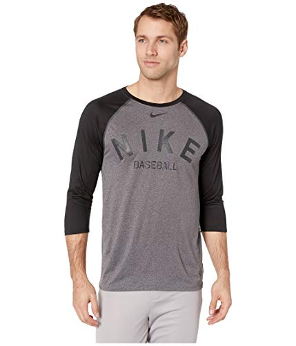 Nike Men's Dry Cross-Dye Legend Baseball T-Shirt(Charcoal Heather/Black,M) ()