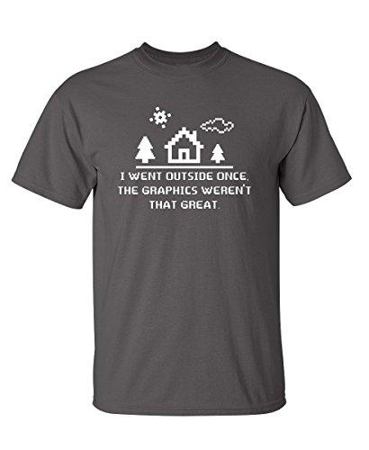 Feelin Good Tees I Went Outside Once The Graphics Funny Novelty Computer T-Shirt M Charcoal