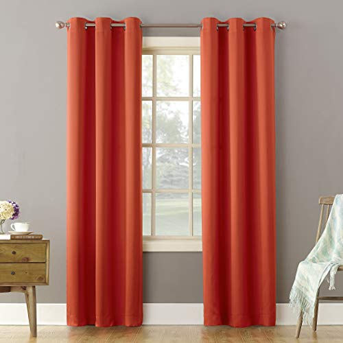 "Sun Zero Becca Energy Efficient Grommet Curtain Panel, 40"" x 95"", Tangerine Orange"