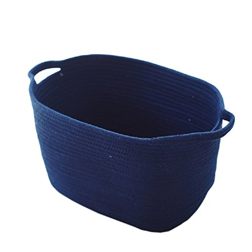 XIANIWTA Cotton Rope Knitted Storage Basket Bin Foldable Laundry Basket Hamper with Handles for Nursery Kids Toys Storage (Navy Blue)
