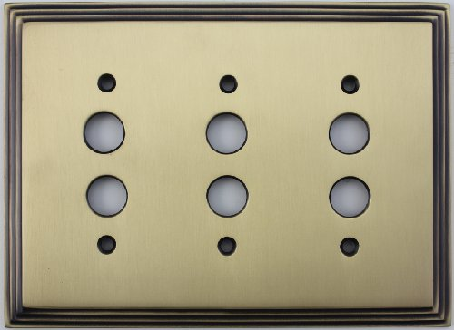 (Deco Step Style Antique Brass 3 Gang Push Button Light Switch Wall Plate)