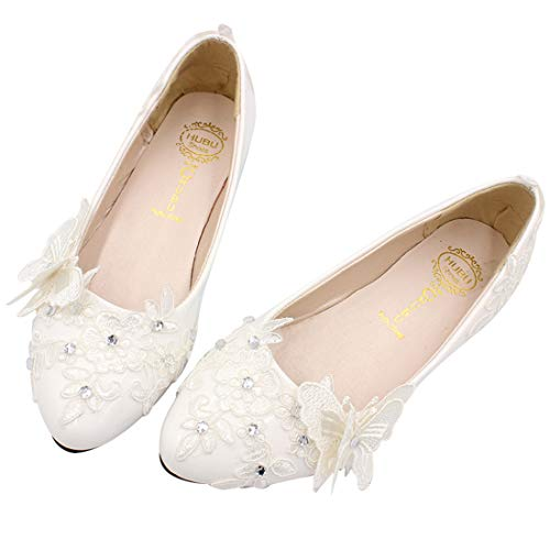 Fermé Seraph Plates Femmes Ballet De Bh137 Chaussures Avec Mariée Cristal Bout White Mariage En pnrpRf