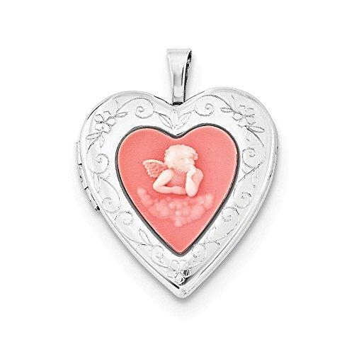 Sterling Silver 20mm Pink Agate Angel Cameo - Cameo Gold Slide Bracelet