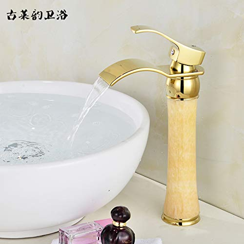 Q redOOY Faucet Taps All-Copper Natural Jade Table Below Basin Hot And Cold golden Faucet Waterfall-Style Above Counter Basin Antique Faucet, pink gold Sapphire Dwarf [Waterfall]