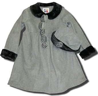 Good Lad Girls Fleece Coat with Hat (4T, Grey/Black Trim)