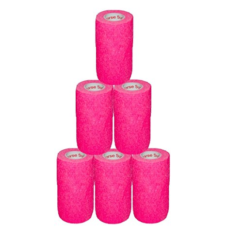 "3"" Medical Wrap Tape Bulk, Self Adherent Rap Tape, Self Adhering Stick Bandage, Self Grip Roll, Power Flex Wrap - 3 inches x 15' Feet - 6 Rolls - Neon Pink by Prairie Horse Supply (Image #5)"
