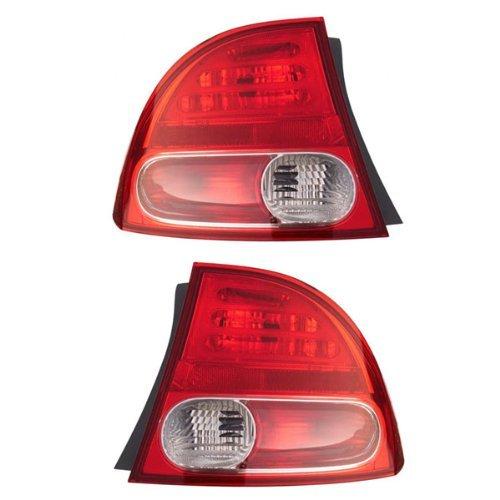 (2006-2007-2008 Honda Civic 4-Door Sedan & Hybrid Taillamp Taillight Rear Brake Tail Light Lamp (Quarter Panel Outer Body Mounted) Pair Set Right Passenger AND Left Driver Side (06 07 08) )