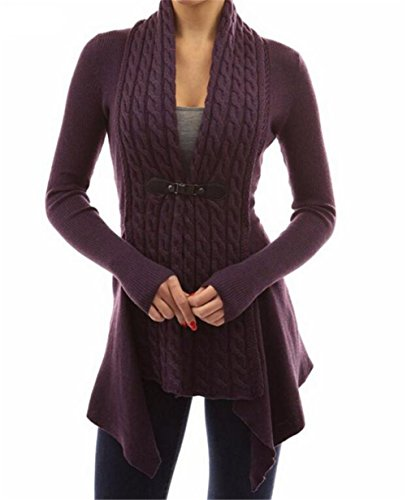 GAMT-Womens-Fashion-V-Neck-Sweater-Hemp-Knit-Long-Section-Cardigan