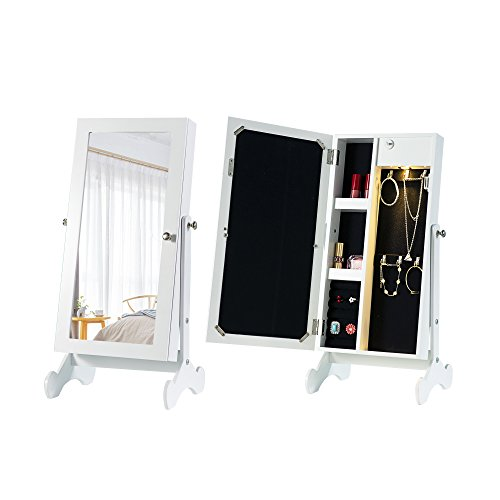 Cloud Mountain Make Up Mirrored Jewelry Cabinet Free Standing Jewelry Armoire Mini Table Tilting Jewelry Organizer, White