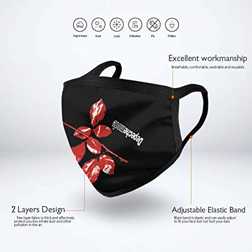 Depeche Mode Unisex Windproof Mask Dustproof, Black Polyester Face Mask For Cycling Camping Travel