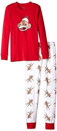 - Sara's Prints Unisex Kids Long John Pajamas, Red Monkey, Size 6M