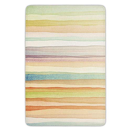 - Bathroom Bath Rug Kitchen Floor Mat Carpet,Pastel,Horizontal Watercolors Stripes Acrylic Artistic Elements Liquid Brushstrokes Print Decorative,Multicolor,Flannel Microfiber Non-slip Soft Absorbent