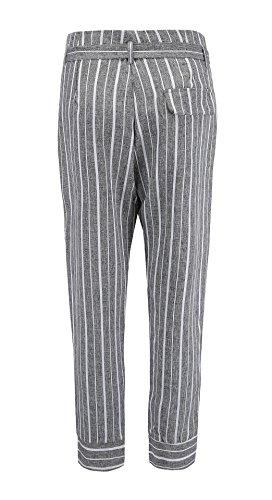 Points Taille Fashion Femmes Neuf Avec Pantalons Trousers Slim Freestyle Pants Gris Bandage Haute Casual Rayée Jeune tHPYxdwq