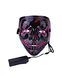 Halloween Mask Light Up V Mask EL Wire LED Scary Mask for Festival Parties Costume, Fakes Masquerades (Purple)