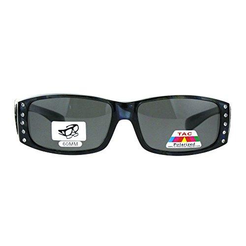 Polarized Rhinestone Bling Anti-glare Lens Rectangular Fit Over Sunglasses Blue - Over Sunglasses Fit Bling With