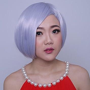 hjl-les mujeres corta (línea recta sintético cosplay Cabello parte peluca bang Granny gris
