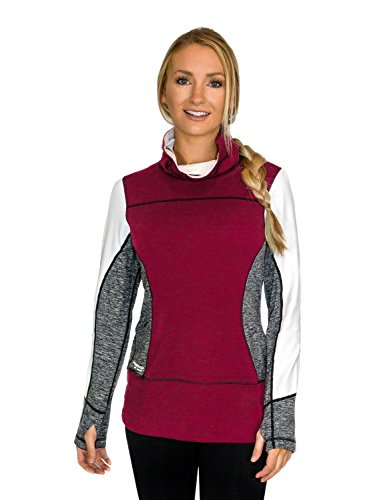 WoolX X560 Womens Anna Funnel Neck Sweater - Sangria Melange - (Funnel Neck Shirt)