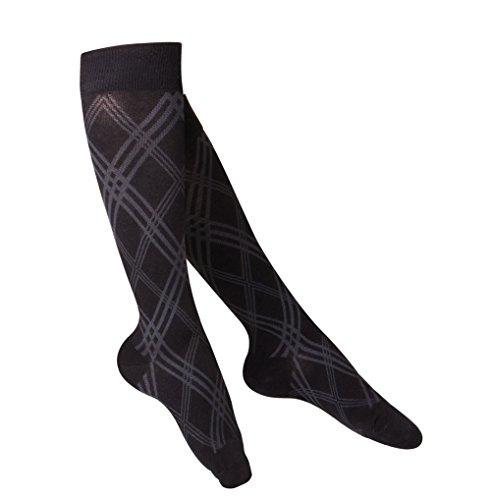 Touch Compression 20-30 mmHg Cotton Socks for Women, Black Argyle, Medium