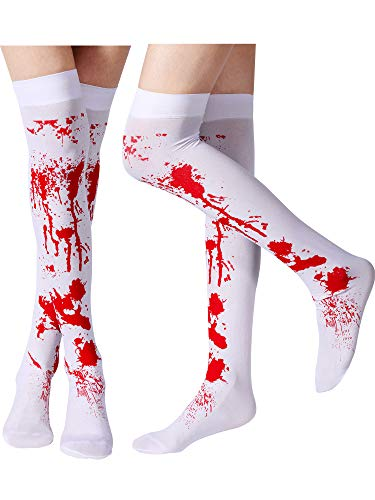 Tatuo Women Blood Stained Stockings White Bloody High Socks for Halloween Cosplay Costume, 2 Pairs -