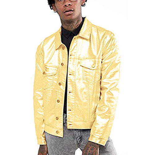 lic Trucker Jacket Gold Silver Leather Jacket Motorcycle Biker Jackets ()