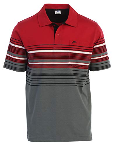 Gioberti Mens Slim Fit Striped Polo Shirt with Pocket, Red with Dolphin Logo, Small